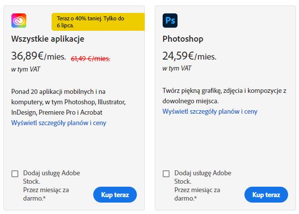 Adobe cennik